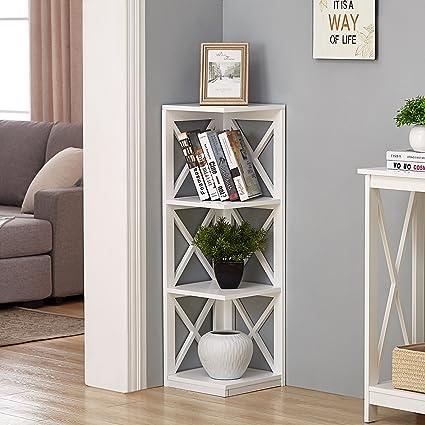 White Finish 3 Tier Corner Bookshelf With X Design
