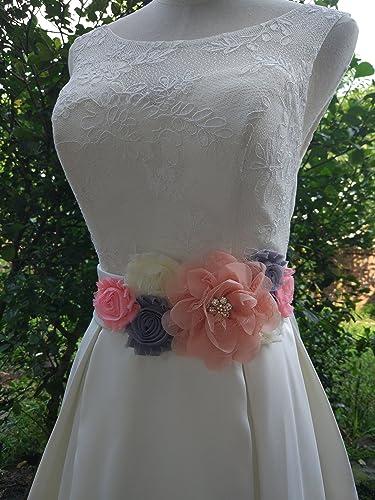 Amazon.com: Flowers maternity sash wedding sashes romantic flowers sashes (Blush): Clothing