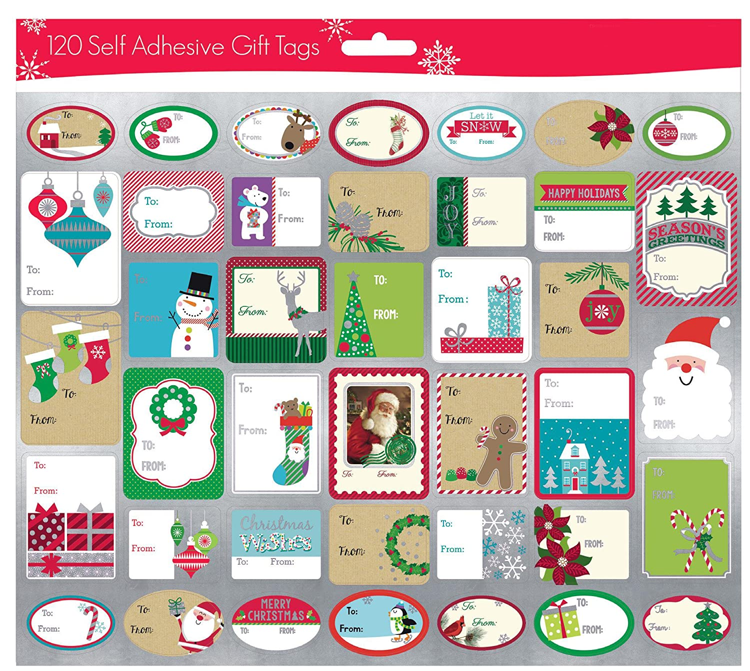 Christmas Labels.Pack Of 120 Self Adhesive Christmas Gift Tags Labels 3 Sheets With 40 Different Designs Xmas Gift Labels