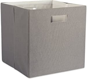 "DII Hard Sided Collapsible Fabric Storage Container for Nursery, Offices, & Home Organization, (13x13x13"") - Solid Gray"