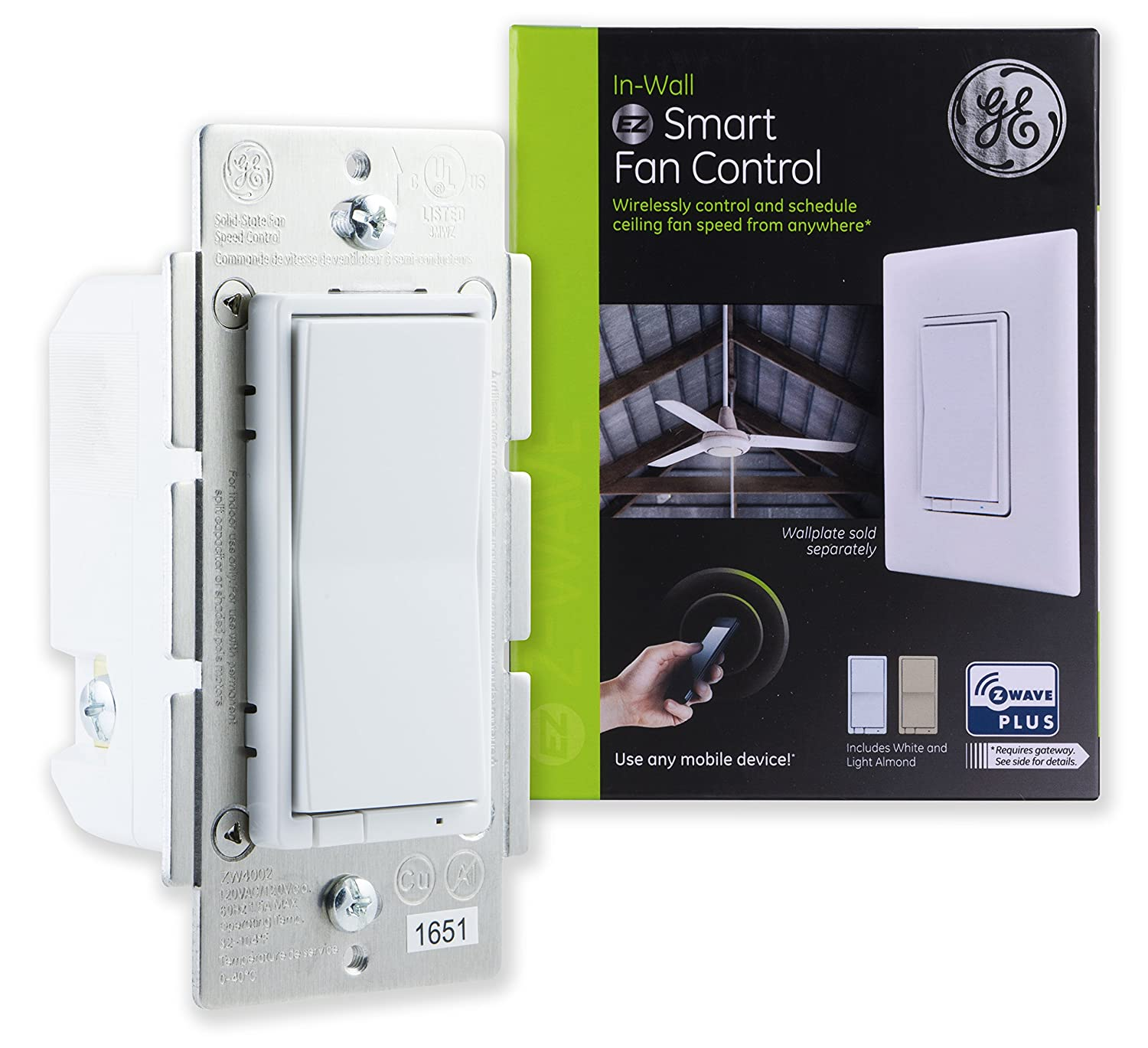 Ge Z Wave Plus Smart Fan Speed Control 3 In Wall Controls How To Install Ceiling And Light Switch On 3way Only Includes White Almond Paddles Zwave Hub Required Works With