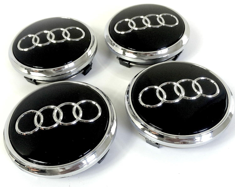 Set of 4 Alloy Wheels Center Caps Black Chrome Covers Badge