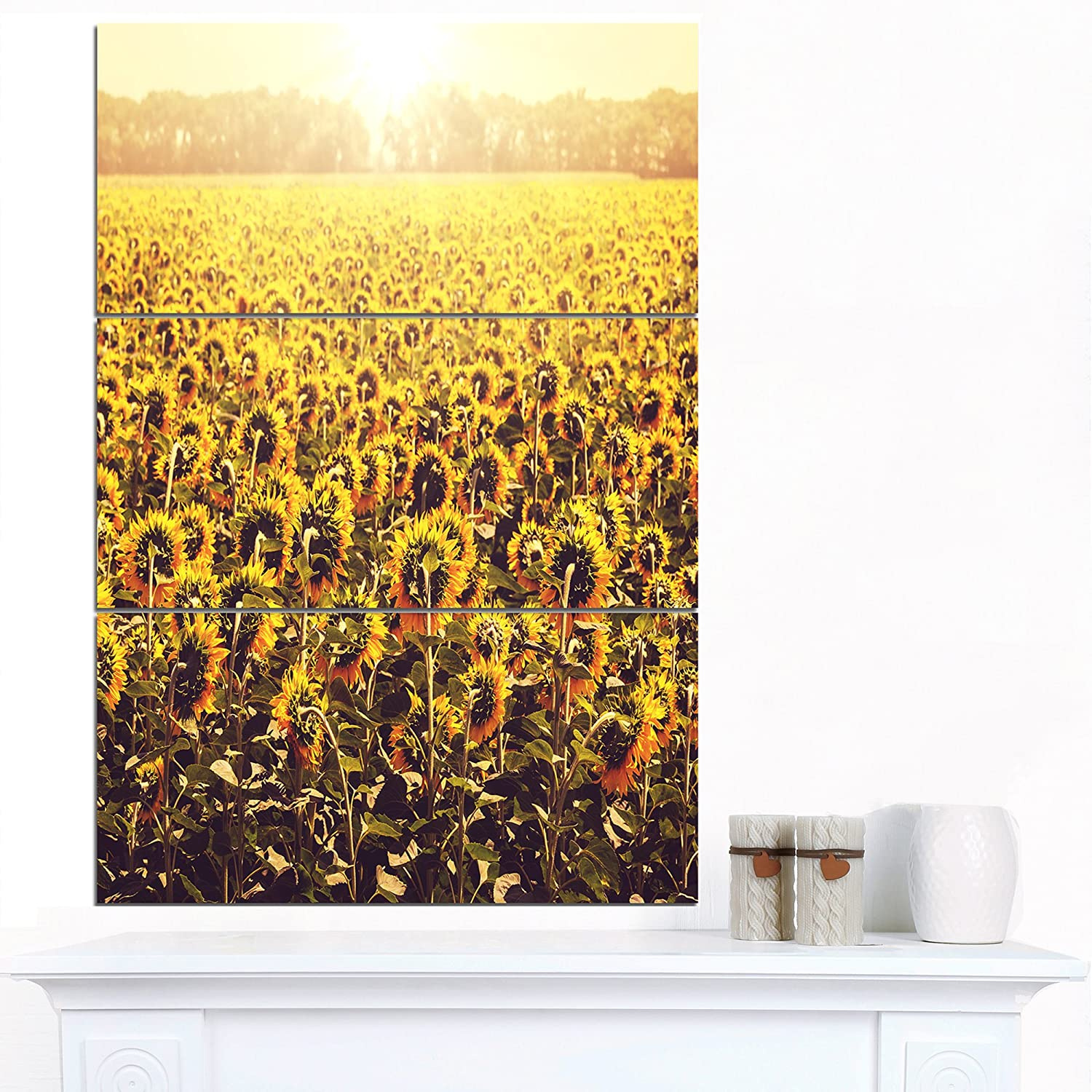 Amazon.com: Design Art Blooming Sunflowers At Sunset Oversized ...