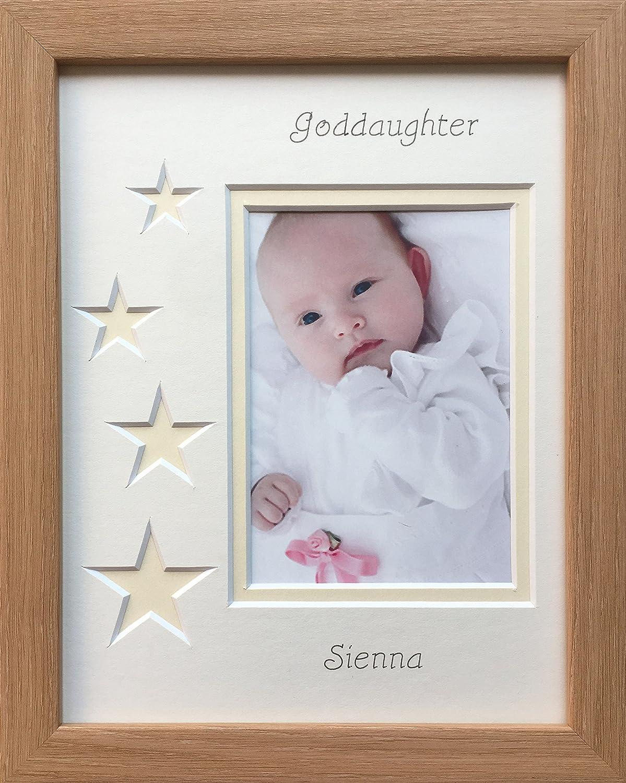 Personalised Goddaughter Photo Frame, 9 x 7 Beech (Cream Stars ...
