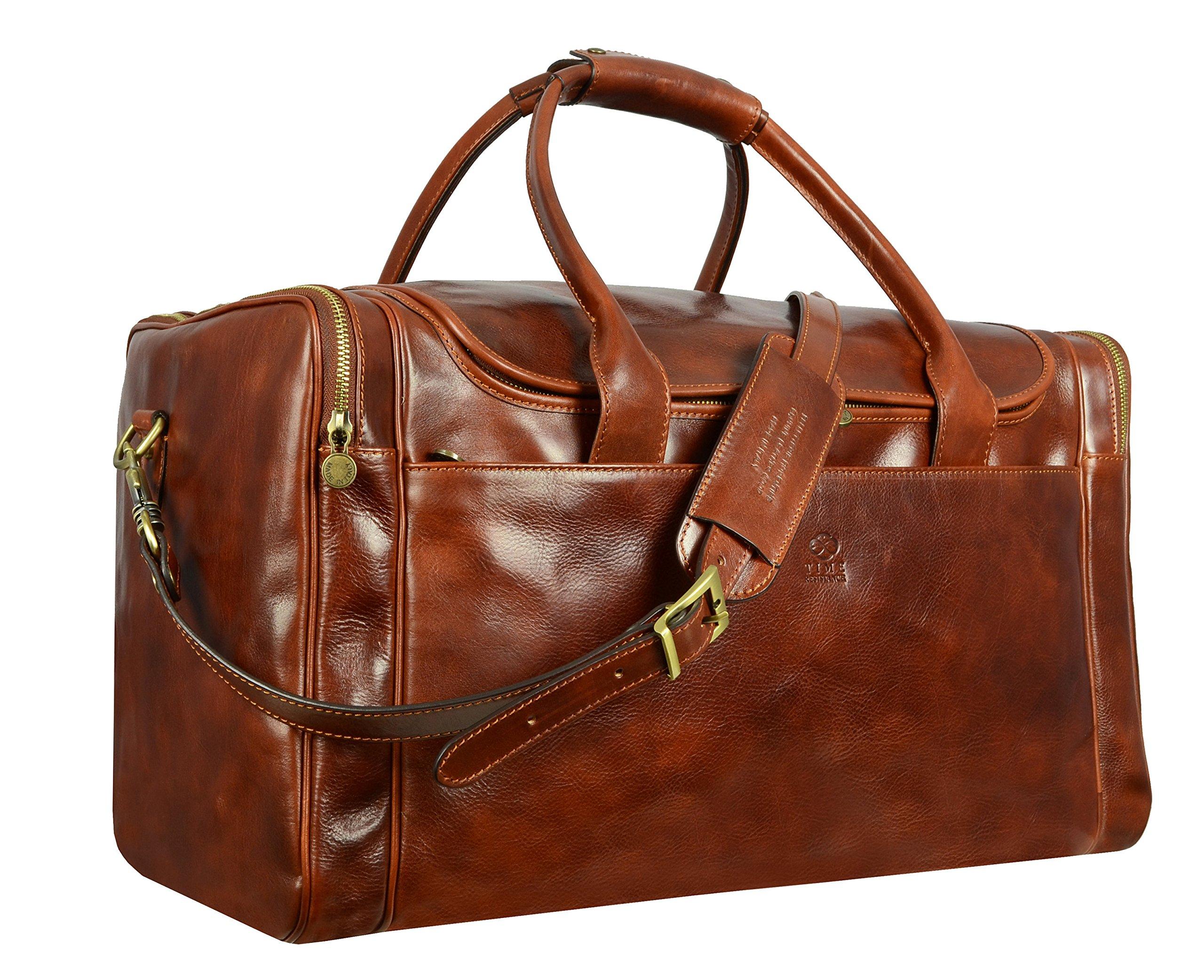 Leather Duffel Bag, Weekend Bag, Gym, Large Travel Bag, Cognac, Brown - Time Resistance by Time Resistance (Image #3)