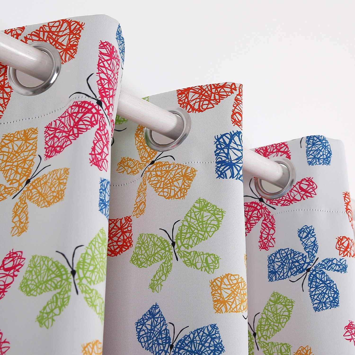 Deconovo Colorful Butterfly Print Curtain Grommet Top Blackout Curtain Red Yellow Blue and Green