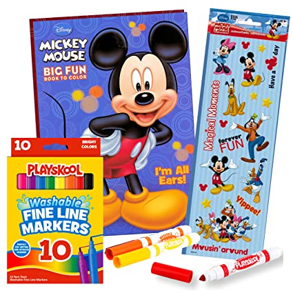 Mickey Mouse Coloring Book With Stickers And Markers