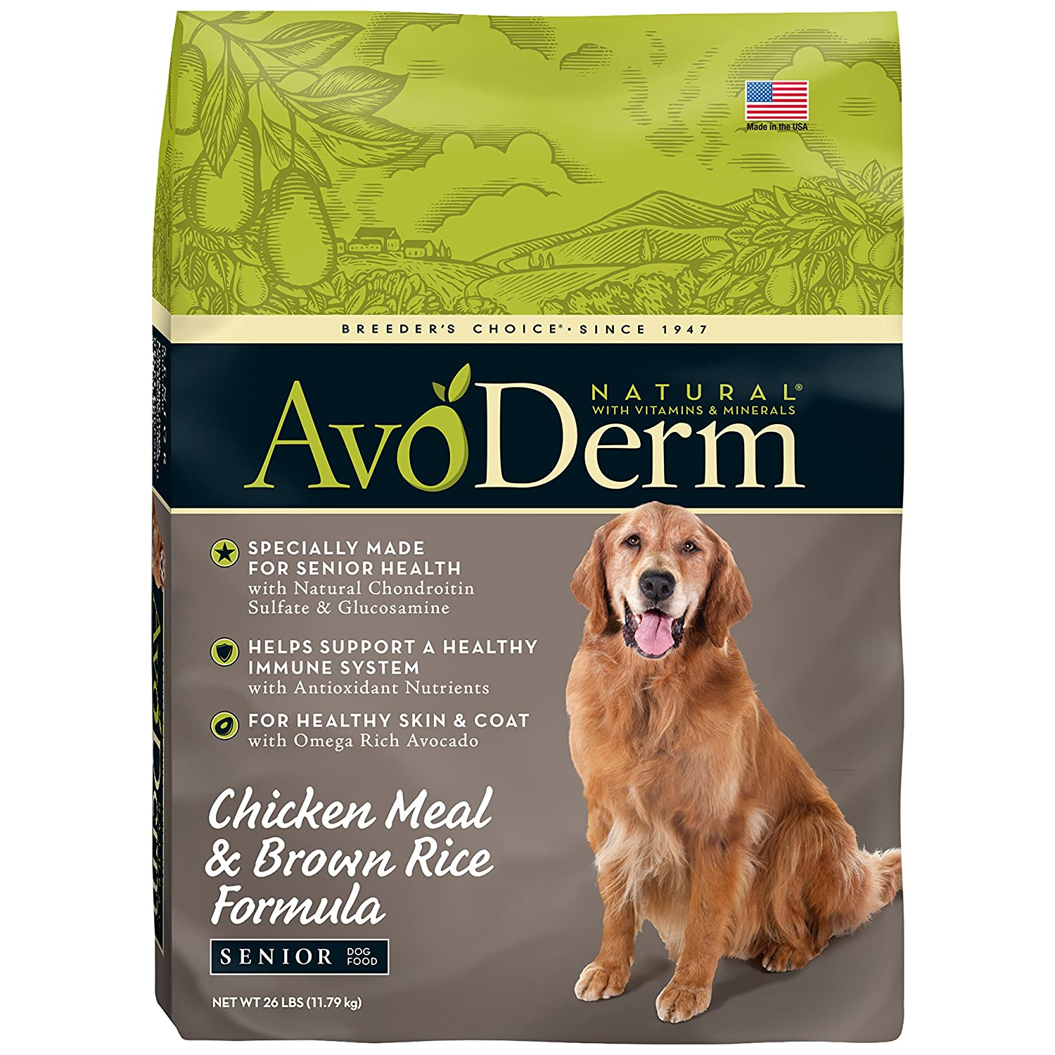 AvoDerm Natural Senior Dry Dog Food, Supports Joint Health, Chicken Brown Rice Formula