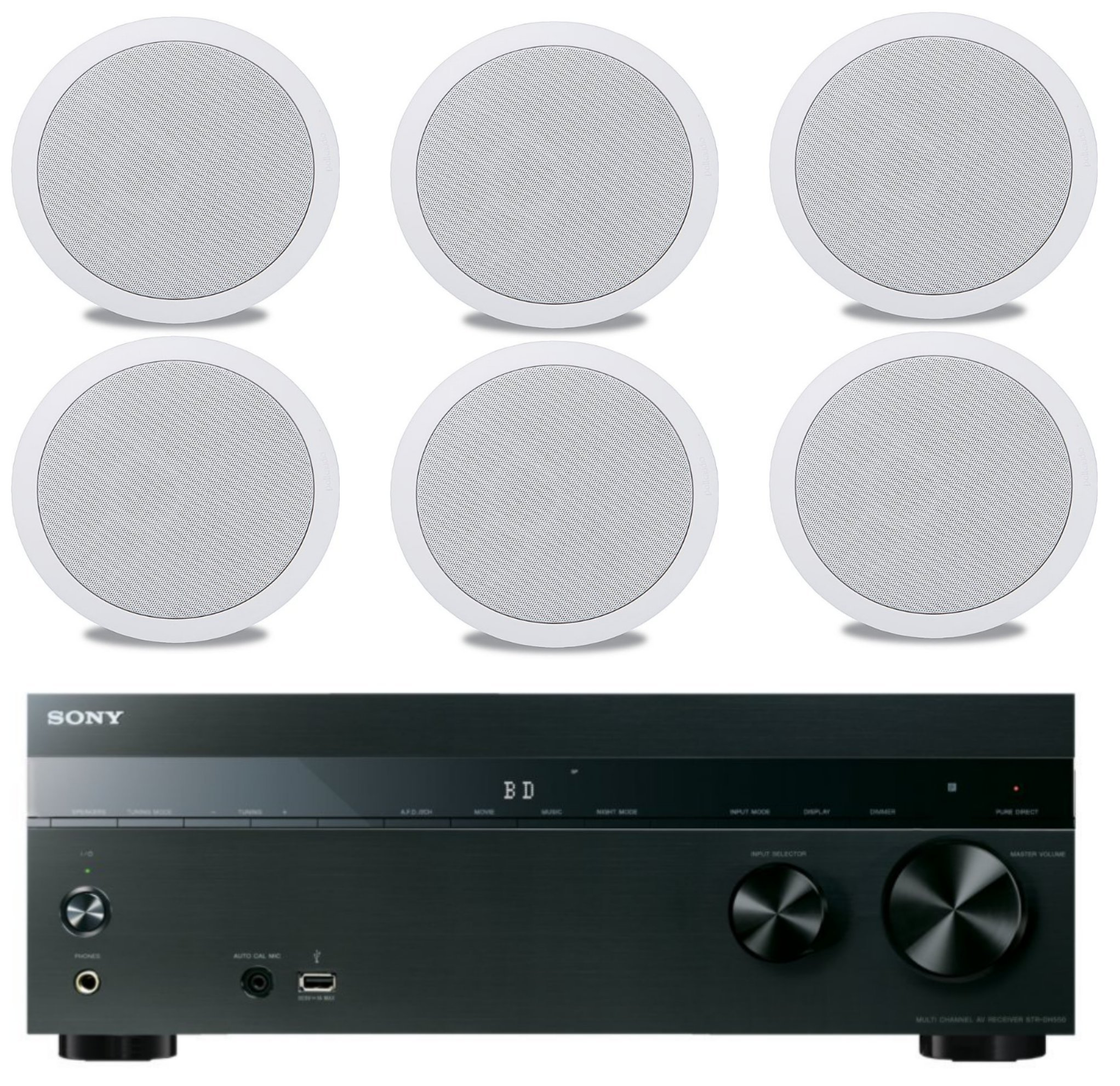 Sony 5.2-Channel 725-Watt 4K A/V Home Theater Receiver + Polk Easy-to-Install High-Performance Surround Sound 6.5'' 2-Way in-ceiling Speaker System (Set Of 6) by Sony