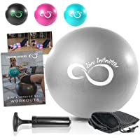 9 Inch Barre Pilates Ball & Hand Pump- Anti Burst Mini Ball & Digital Workout eBook Included for Yoga, Exercise, Balance & Stability Training - Comes with Mesh Carrying Bag & Self-Sealing Valve