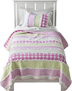 Levtex Madison Full/Queen Cotton Quilt Set - Pink, Pink, Green, Patch