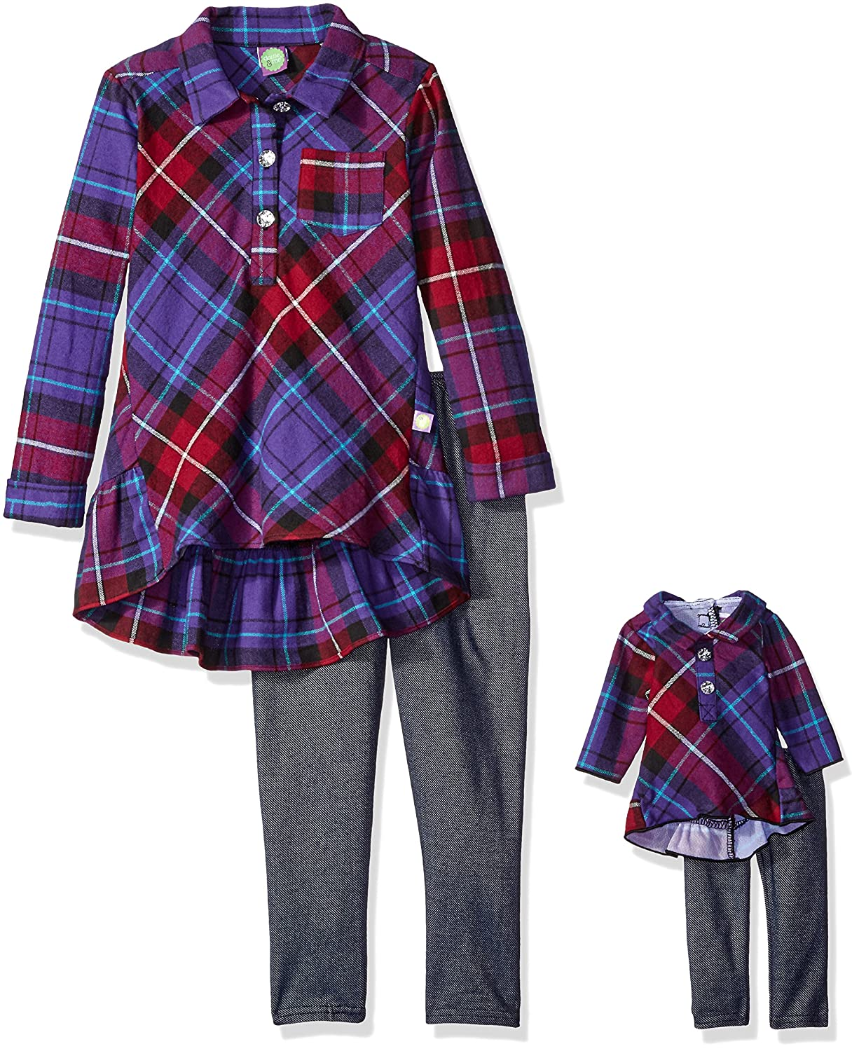 Dollie & Me girls Plaid Ruffle Tunic With Knit Denim Legging 4165618