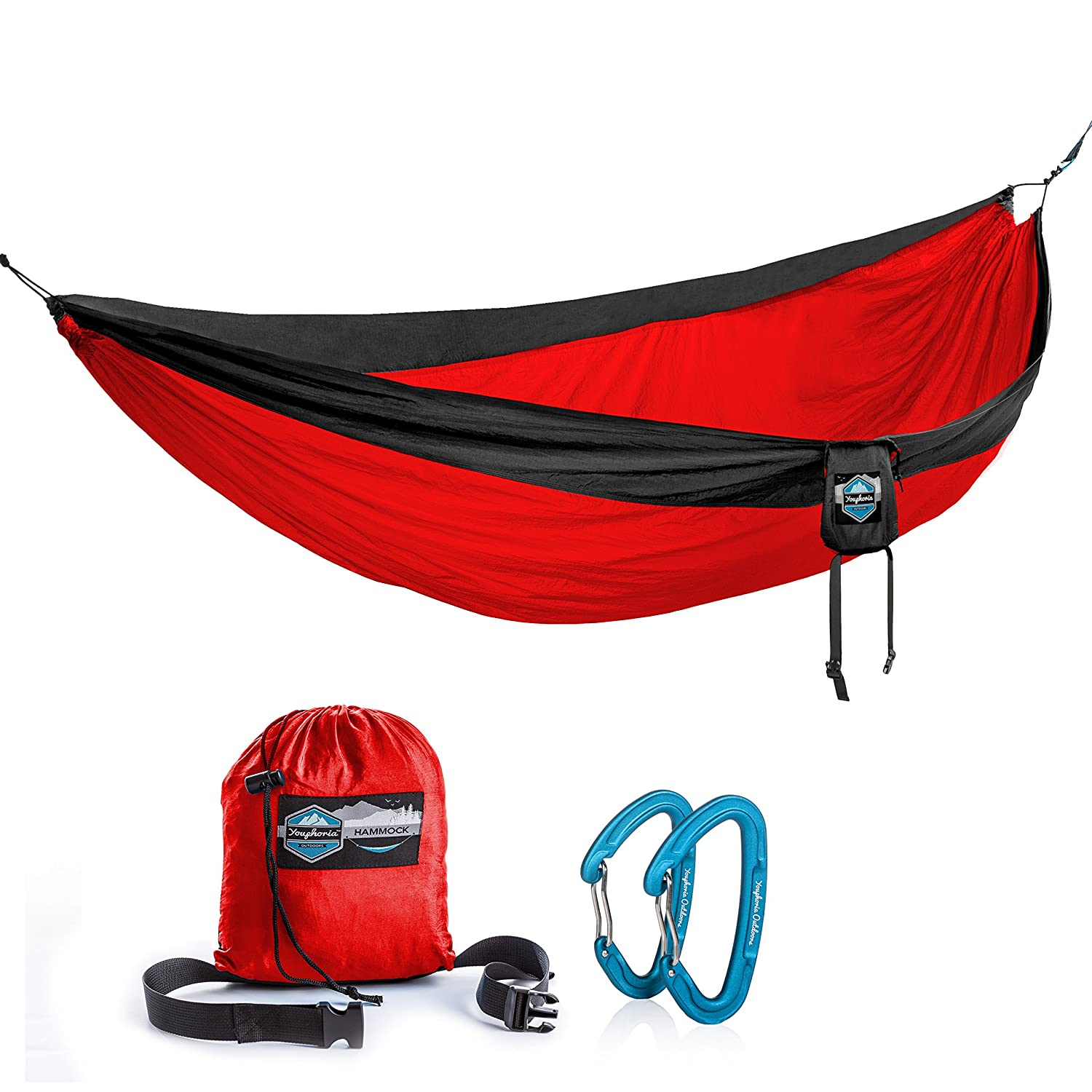 Youphoria Outdoors Double Parachute Camping Hammock Lightweight Nylon Compression Travel Hammock with Premium Wiregate Aluminum Carabiners – Straps Not Included