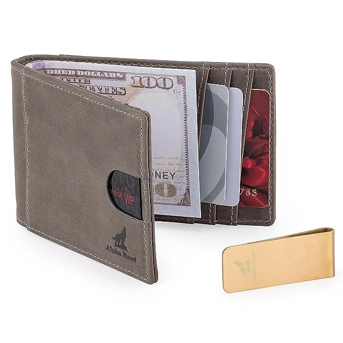 711df297cc8d Slim Genuine Leather Money Clip Wallet for Men - Front Pocket RFID Blocking