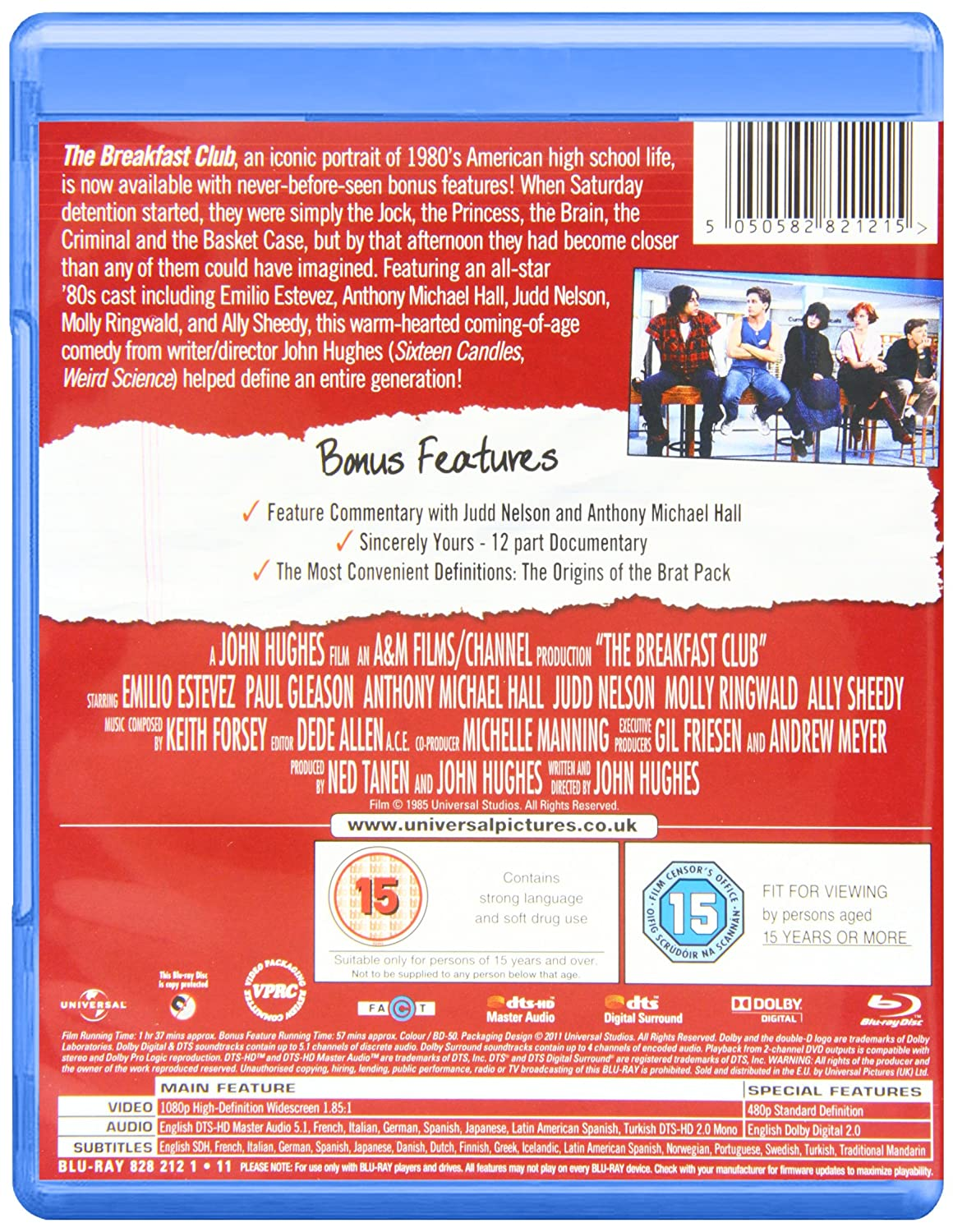 The Breakfast Club Blu Ray Emilio Estevez Molly Frame Anthem 275 Blue Orange 2015 M Ringwald Anthony Michael Hall Judd Nelson Ally Sheedy John Hughes Dvd