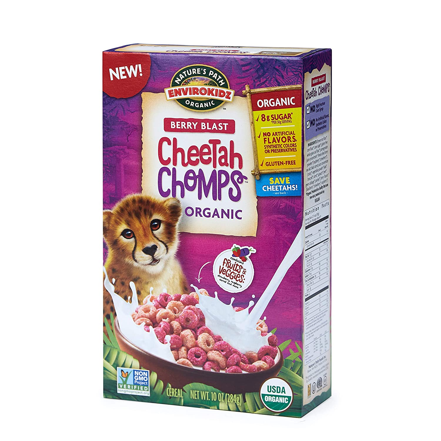 Nature's Path EnviroKidz Cheetah Chomps Cereal, Healthy, Organic, Gluten-Free, 10 oz Box