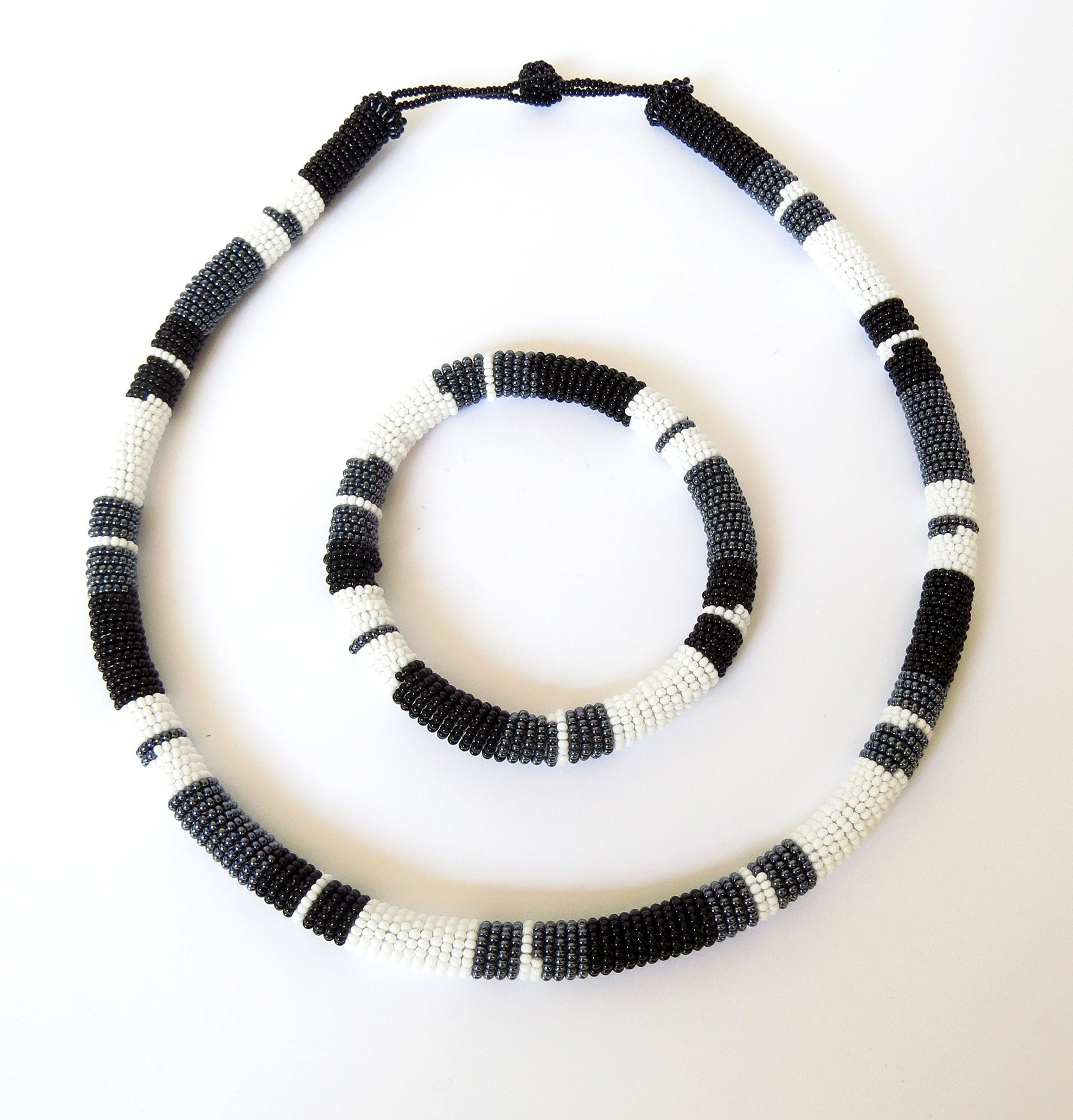 African Zulu beaded necklace and round bracelet set - Black/white/gunmetal - Gift for her