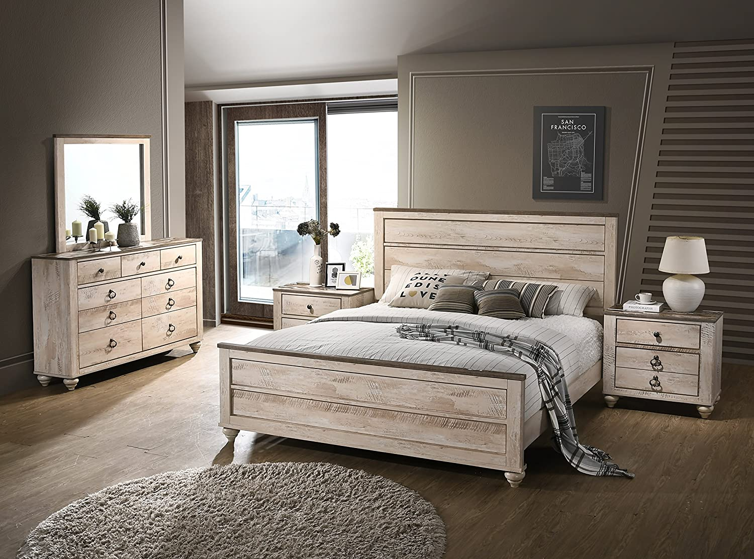 Amerland Contemporary White Wash Finish 5-Piece Bedroom Set