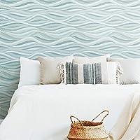 RoomMates RMK11943RL Blue and Green Mosaic Waves Peel and Stick Wallpaper