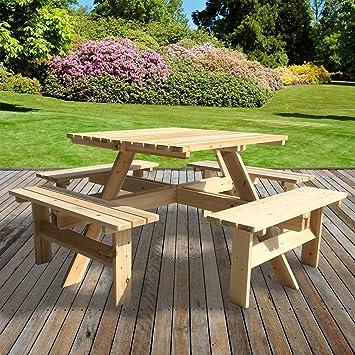 Marko extérieur Table de pique-nique quatre Banc en bois traité sous ...
