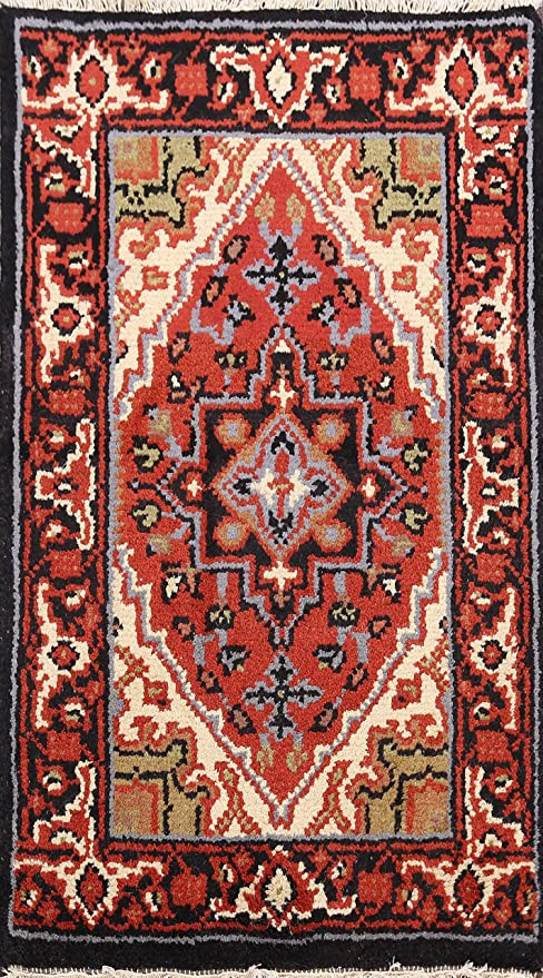 Geometric Indo Heriz Oriental Rust Area Rug Hand Knotted Wool Carpet 2x3 2 0 X 3 0 Kitchen Dining