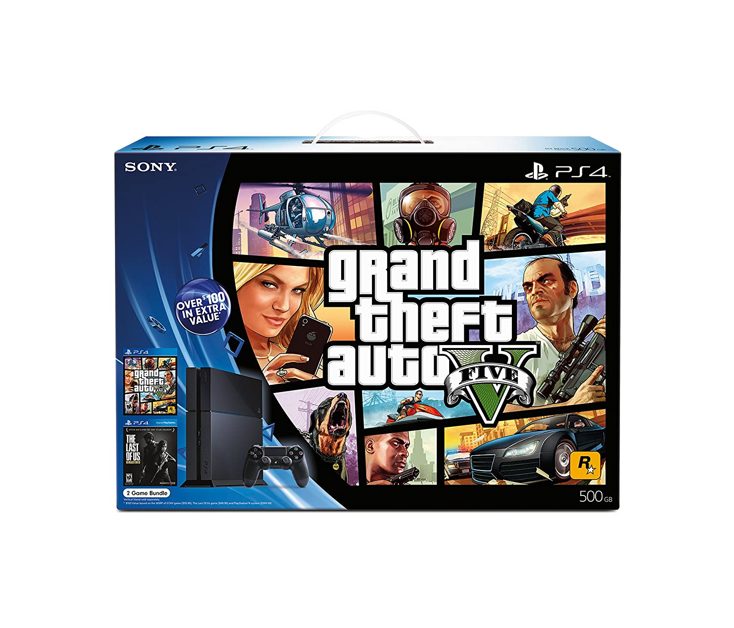 Amazon Com Playstation 4 Black Friday Bundle Grand Theft Auto V And The Last Of Us Remastered Video Games