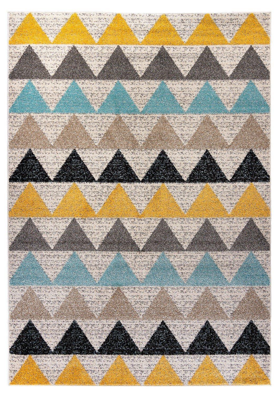 Designer moderner Teppich Desert New Dreieck bunt in 4 Grö ß en fü r Wohnzimmer und Kinderzimmer (80 x 150 cm) Carpetforyou