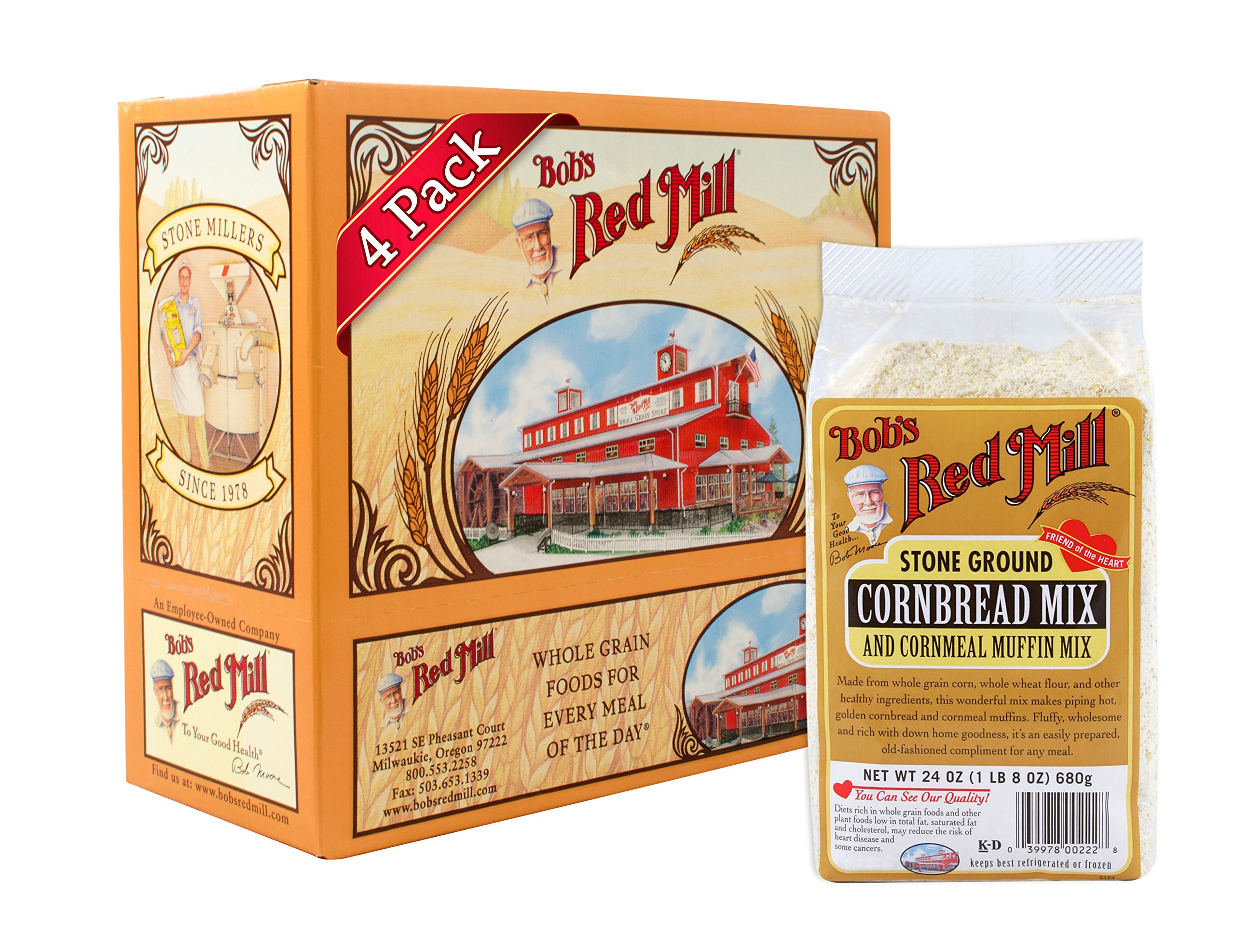Bob's Red Mill Cornbread & Cornmeal Muffin Mix, 24 Ounce (Pack of 4) by Bob's Red Mill