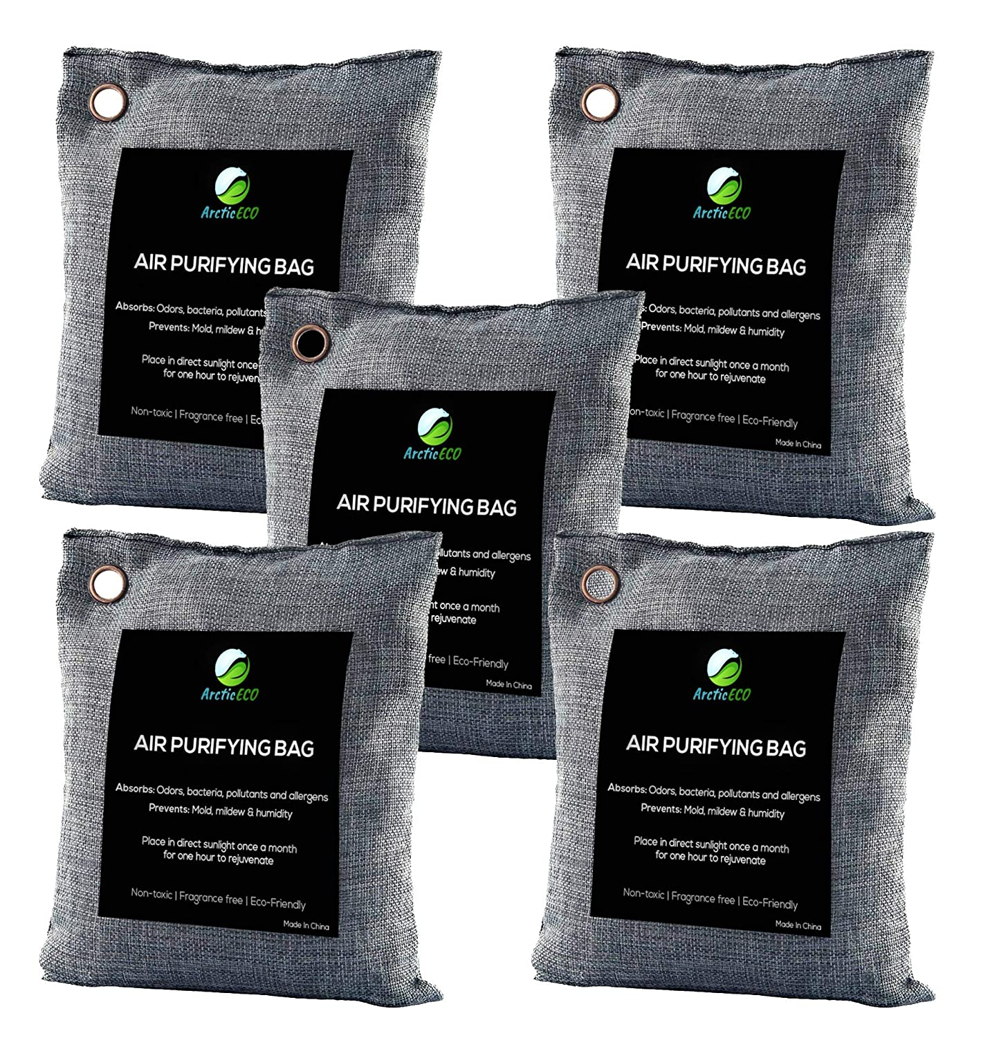 ArcticECO 5-Pack Bamboo Charcoal Air Purifying Bag 200g | 100% Natural Odor Eliminator and Eco Friendly Moisture Absorber | Car, Closet, Room, Locker, Gym Bag Deodorizer
