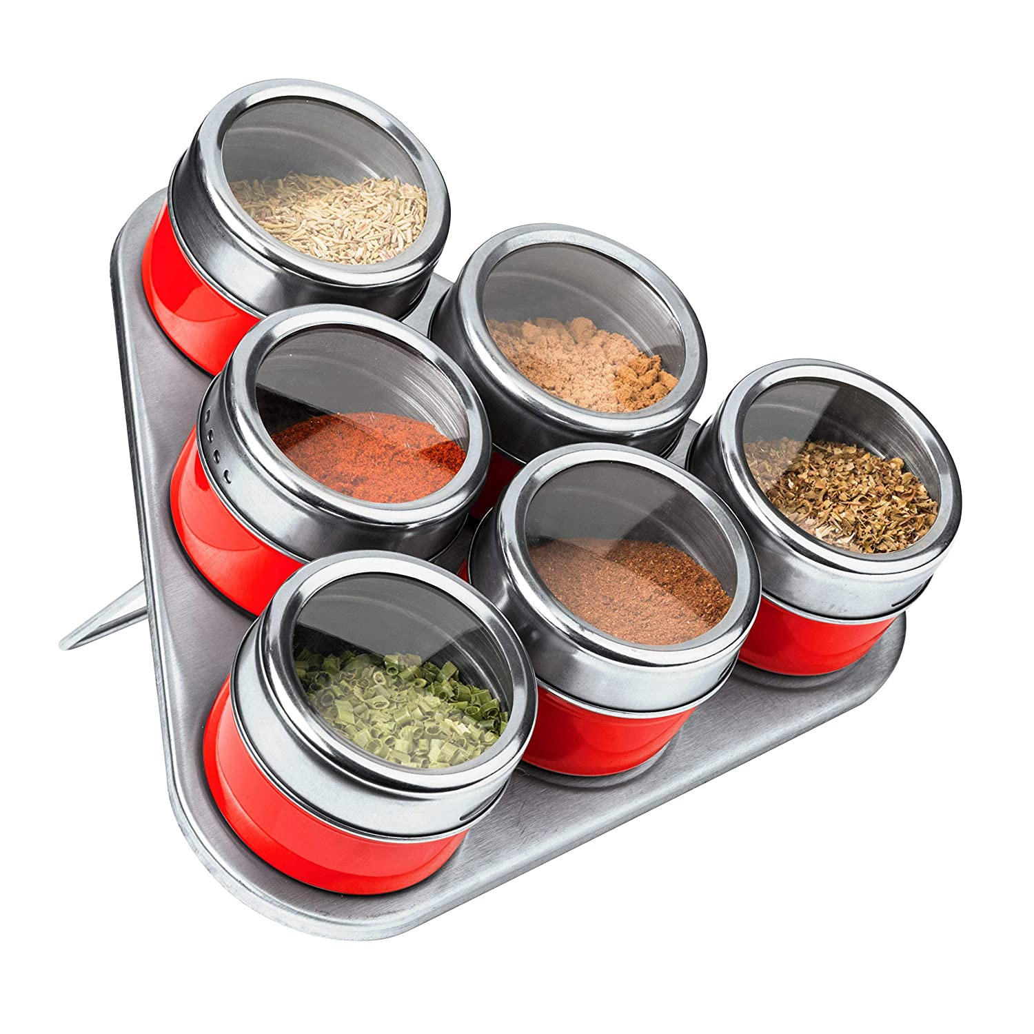 Hot Pink Premier Housewares Magnetic Tray with 6 Spice Jars