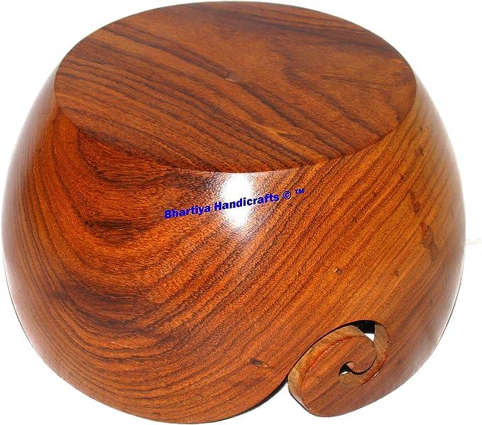 Wooden yarn bowl large 7 x 7 x 4 Inch new design yarn storage mango wood Bhartiya Handicrafts