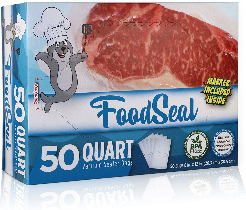 "FoodSeal 50 Quart Size Precut Vacuum Sealer Bags | 8"" x 12"" |""Easy-Grab"" Dispenser Box | Heavy Duty Commercial Grade | Food Saver Compatible | Great for fridge, freezer, sous vide, and more"