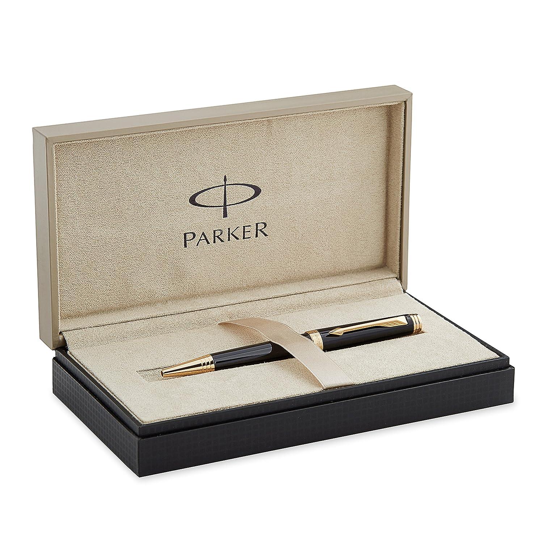 Parker - Bolígrafo Bolígrafo Bolígrafo de punta de bola con caja (adornos en dorado), color negro dfddf2