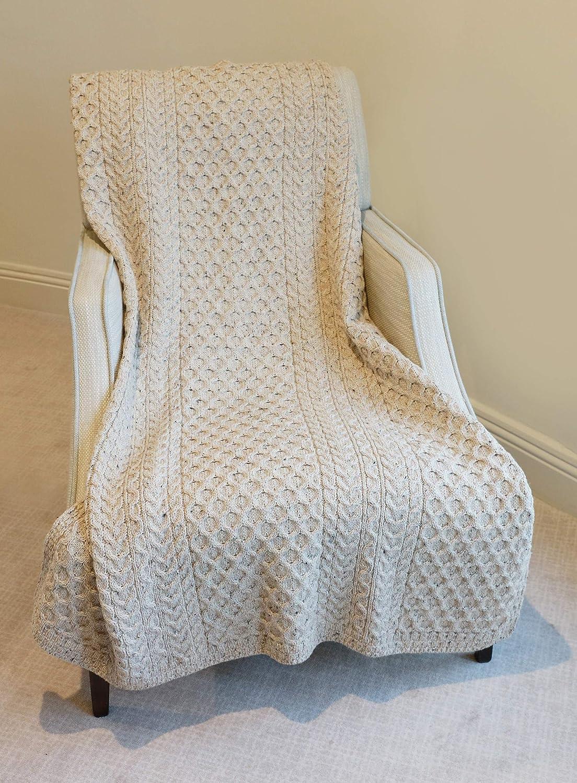 100% Merino Wool Blanket With Honeycomb Knitted Design (Natural) Aran Woollen Mills