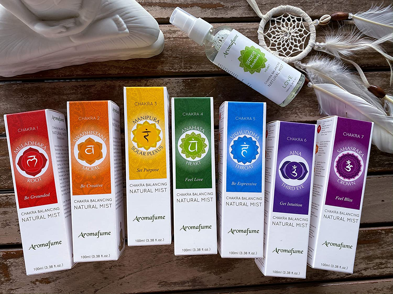 Aromafume 7 Chakra Balancing Natural Mist - Clean, Smoke-Free, Non Toxic Alternative to Incense (Set of 7)