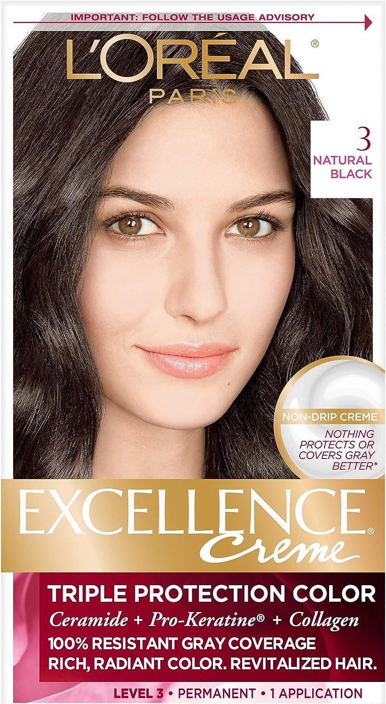 LOréal Paris (public) Excellence Crème 3 Negro coloración del cabello - Coloración del cabello (Negro, Natural, PRE-COLOR SERUM AQUA/WATER/EAU, ...