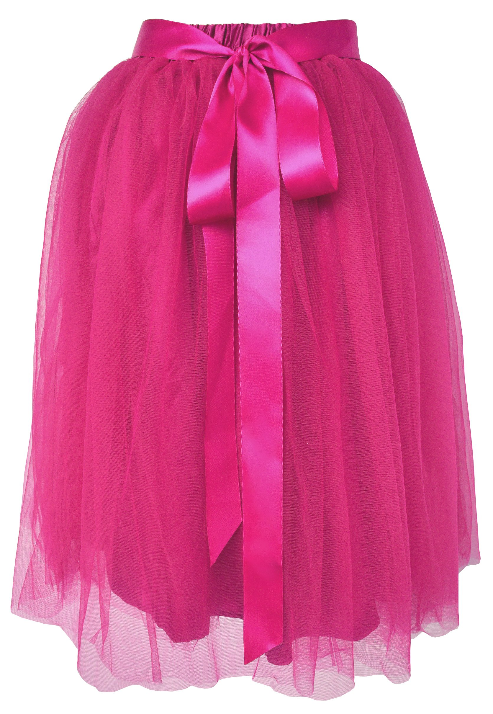 Dancina Women's Knee Length Tutu A Line Layered Tulle Skirt Size Regular 2-18 Hotpink