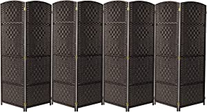 Sorbus Room Divider Privacy Screen, Foldable Panel Partition Wall Divider, Room Dividers and Folding Privacy Screens, Diamond Double-Weaved (8 Panel, Espresso Brown)