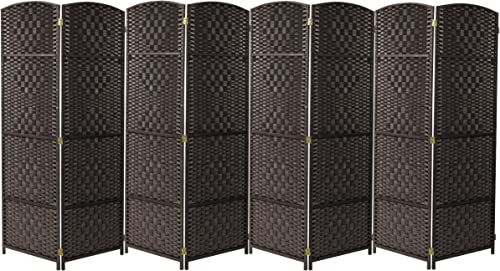 Sorbus Room Divider Privacy Screen, 6 ft. Tall Extra Wide Foldable Panel Partition Wall Divider, Double Hinged Room Dividers and Folding Privacy Screens, Diamond Double-Weaved 8 Panel, Espresso Brown