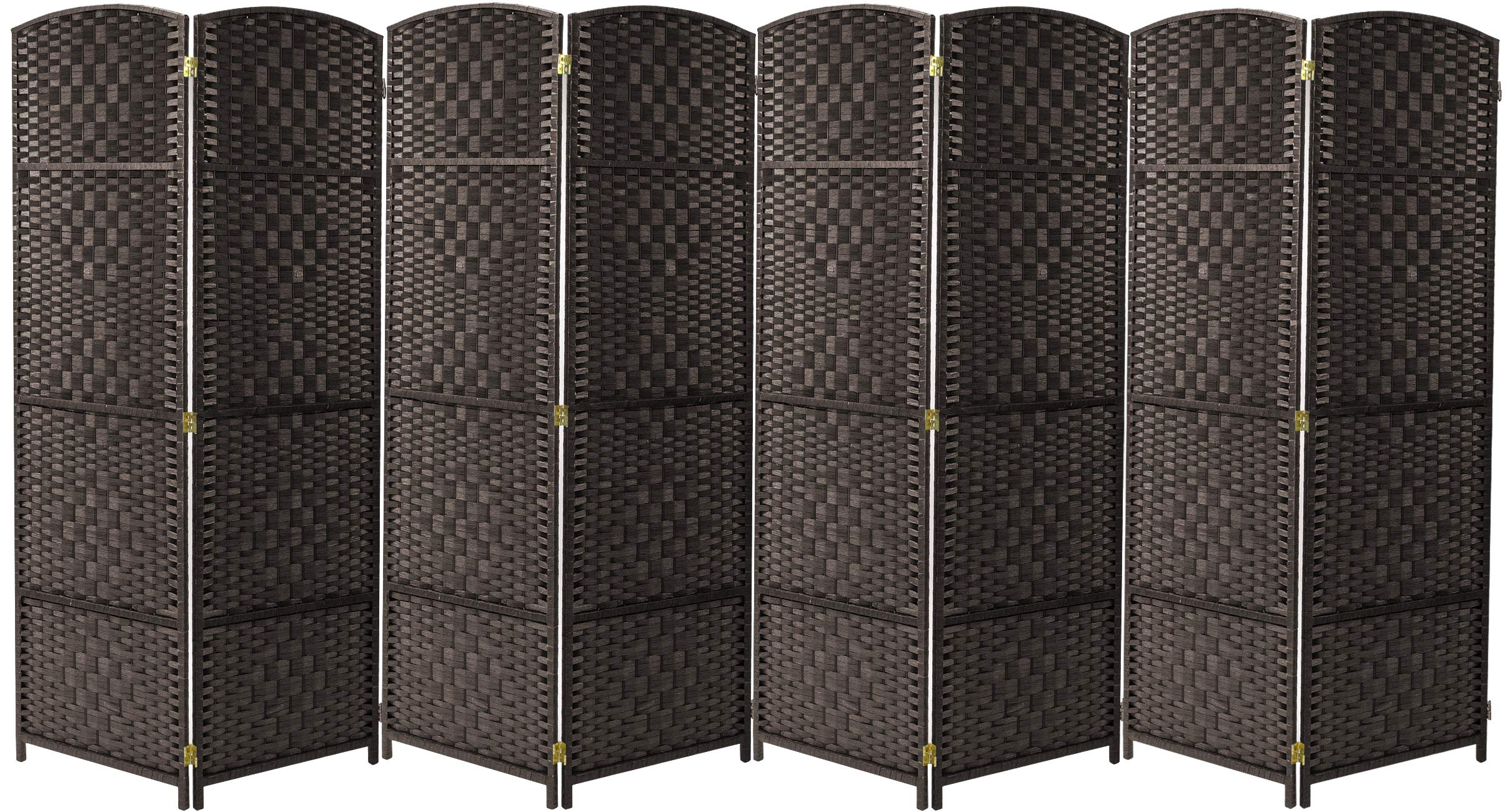 Sorbus Room Divider Privacy Screen, Foldable Panel Partition Wall Divider, Room Dividers and Folding Privacy Screens, Diamond Double-Weaved (8 Panel, Espresso Brown) by Sorbus