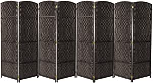 Sorbus Room Divider Privacy Screen, 6 ft. Tall Extra Wide Foldable Panel Partition Wall Divider, Double Hinged Room Dividers and Folding Privacy Screens, Diamond Double-Weaved(8 Panel, Espresso Brown)