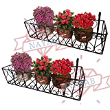 NAYAB Iron Heart Design Hanging Baskets Flower Pot Holder Without Pots for Railing Fence Balcony Garden Home Decoration (Set of 2 (Tub - 62cm*20cm))