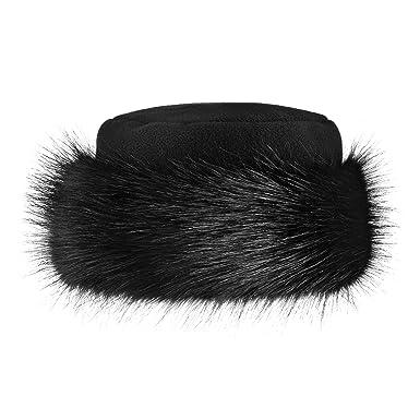 c6b715fc Futrzane Faux Fake Fur Hat with Fleece Russian Cossack Winter Ladies Women  (S, Black