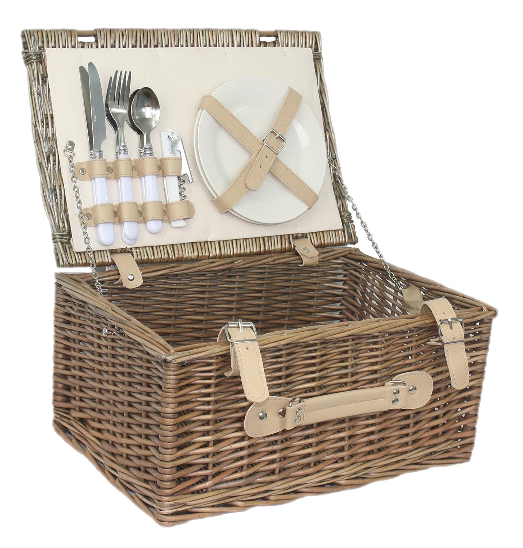 Klassisches, antikes Design, für 2 Personen, Weidengeflecht, Fitted Picknick-Korb, B00TXEW4PS | Jeder beschriebene Artikel ist verfügbar