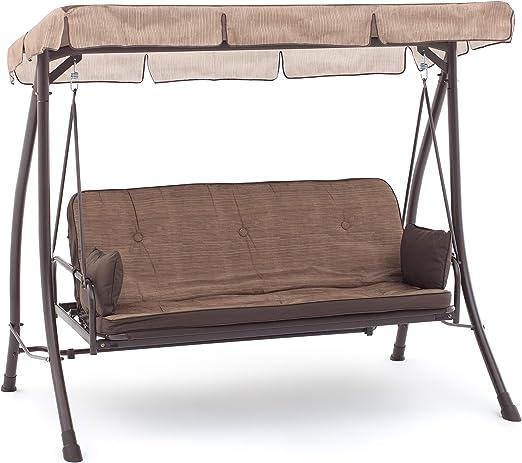 Balancín de 3 plazas en color crudo, con respaldo reclinable, cama con techo para decoración de jardín, M0851: Amazon.es: Jardín