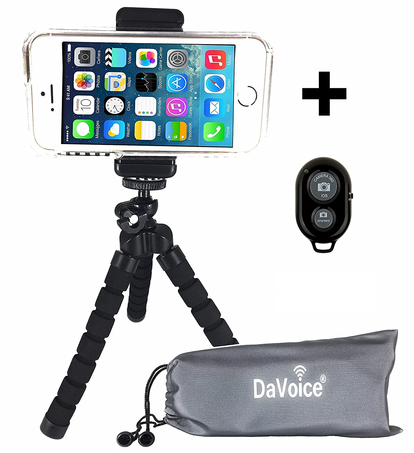 Flexible Cell Phone Tripod for iPhone X 8 7 6s 6 SE 5s 5c 4s 4 Samsung Galaxy S8 S7 S6 S5 S4 - Smartphone Adapter Mount - Bluetooth Remote - DaVoice Carry Bag Octopus Flex Bendable Mini Pocket (Black) hot sale