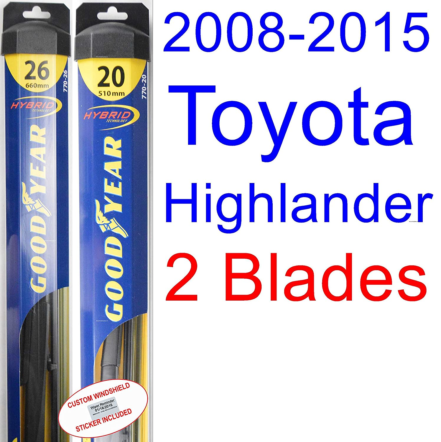 Amazon.com: 2008-2015 Toyota Highlander Replacement Wiper Blade Set/Kit (Set of 2 Blades) (Goodyear Wiper Blades-Hybrid) (2009,2010,2011,2012,2013,2014): ...