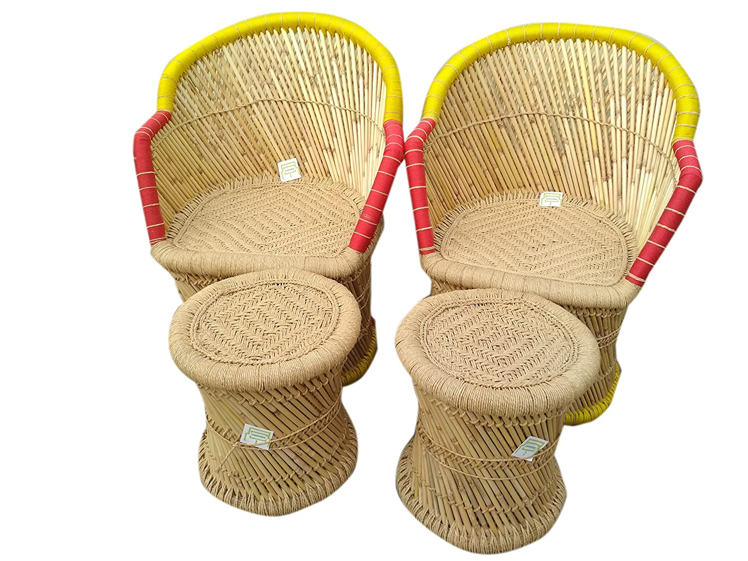 Ecowoodies eco friendly outdoor bamboo chair stool furniture set for home and living room amazon in home kitchen