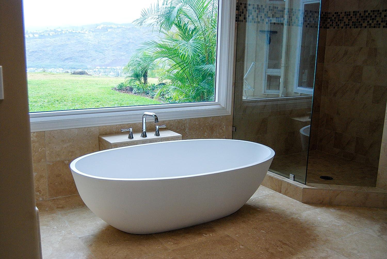 Luxury freestanding soaking bathtub with overflow (white matte ...