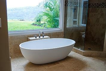 Luxury Freestanding Soaking Bathtub With Overflow (white Matte)